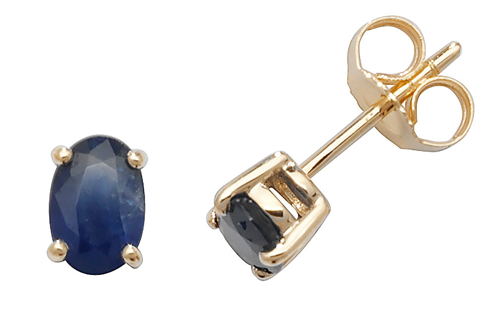 9ct Yellow Gold Oval Sapphire Stud Earrings