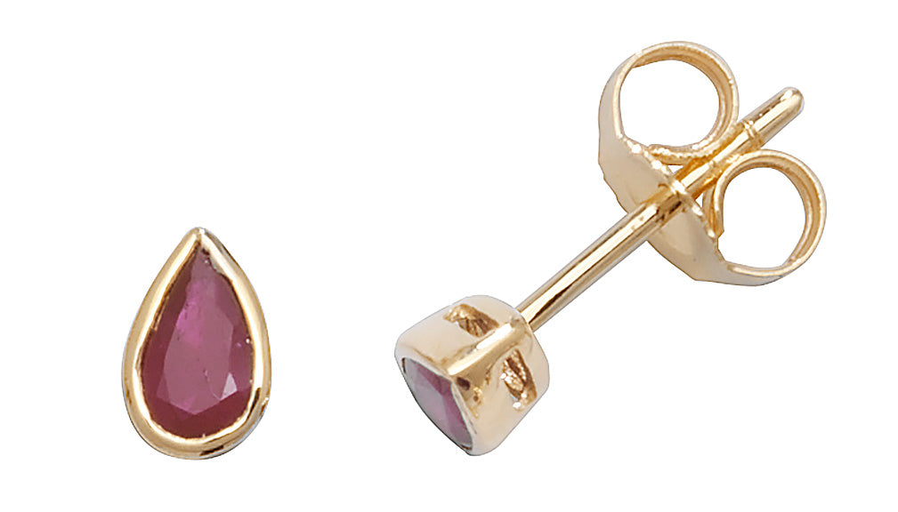 9ct Yellow Gold Pear Ruby Stud Earrings