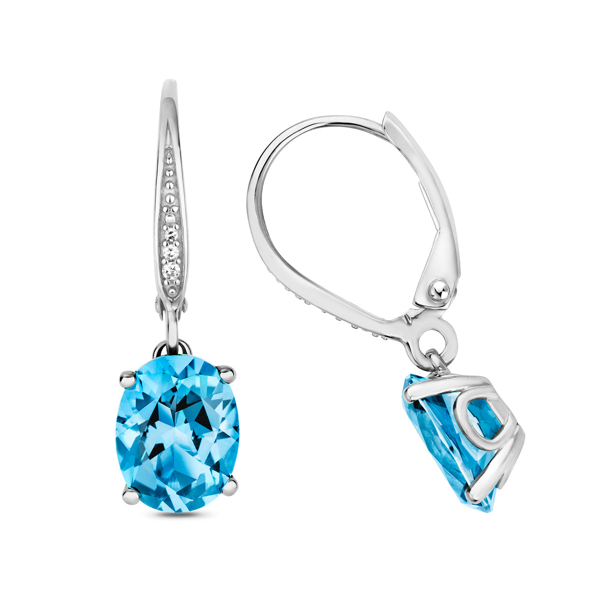 9ct White Gold Blue Topaz and Diamond Drop Earrings