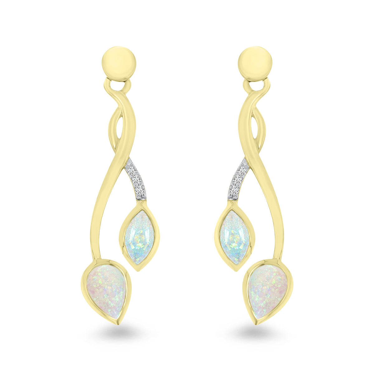 9ct Yellow Gold Opal and Diamond Earrings