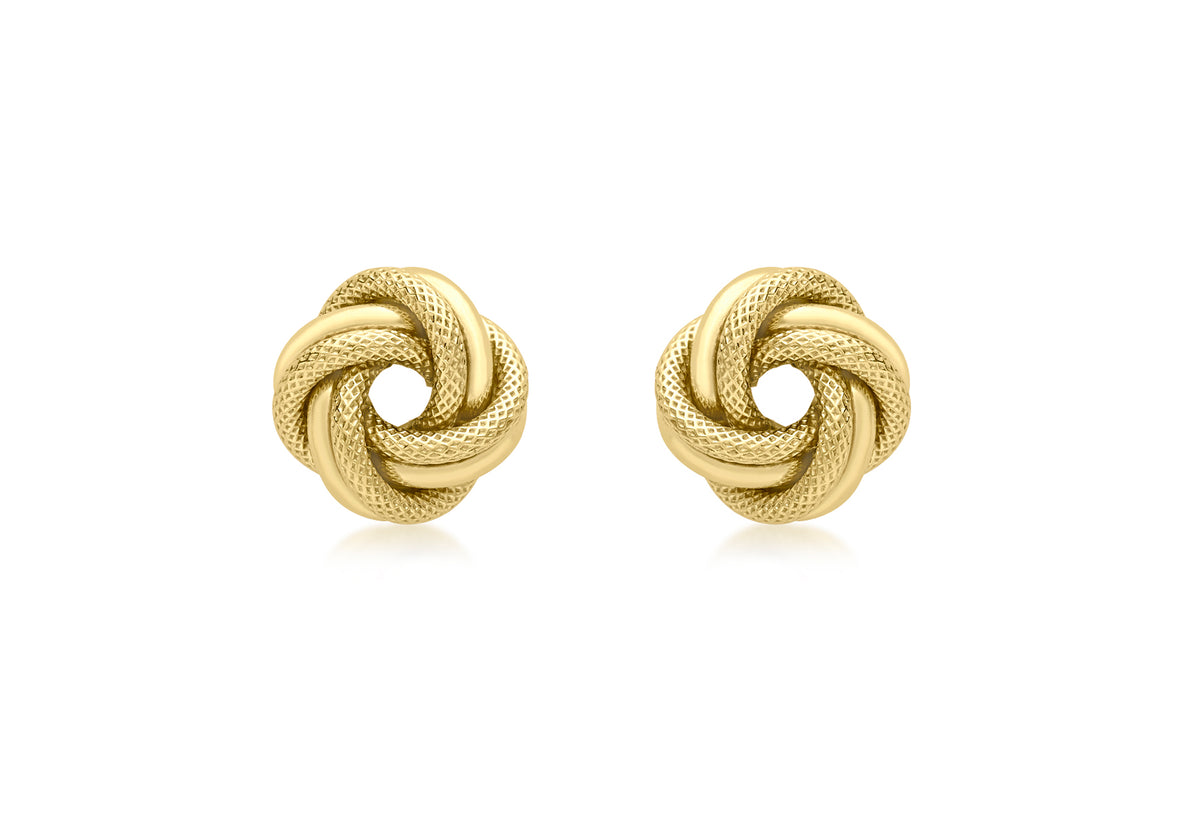 9ct Yellow Gold Double Knot Stud Earrings
