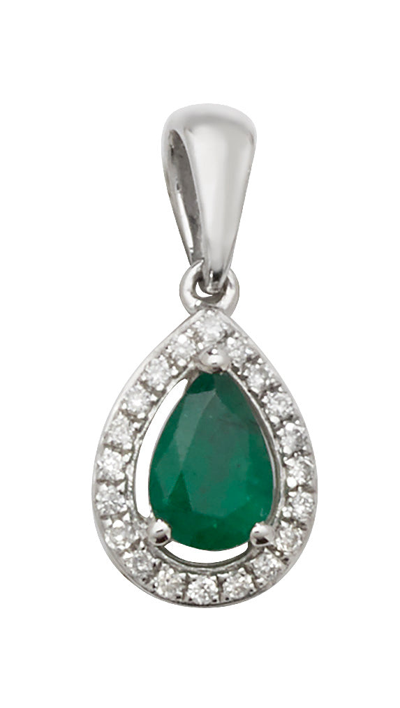 9ct White Gold Emerald and Diamond Pendant