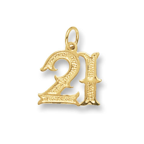 9ct Yellow Gold '21' Pendant