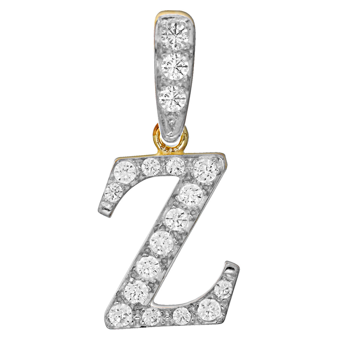 9ct Yellow and White Gold Cubic Zirconia Initial Z Pendant