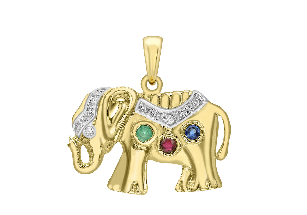 9ct Yellow Gold Elephant Pendant Set With Diamond and Gems