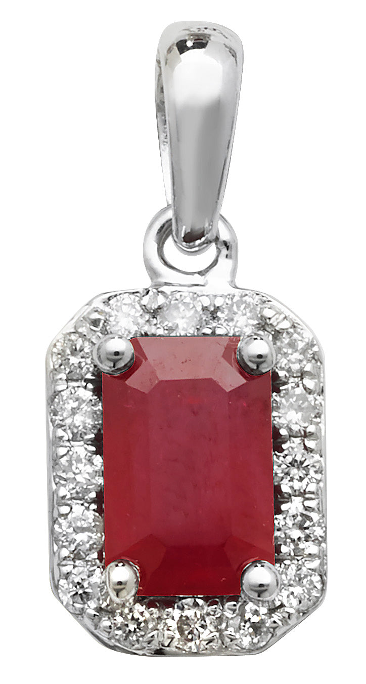 9ct White Gold Ruby and Diamond Pendant