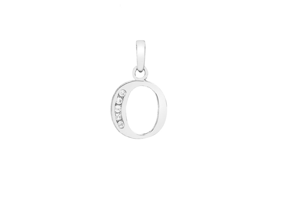 9ct White Gold Initial Pendant O with Cubic Zirconia