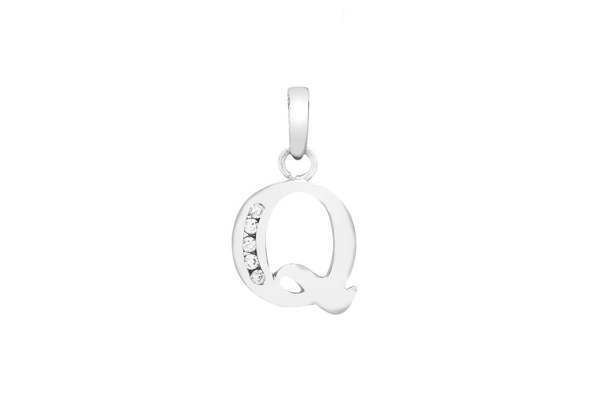 9ct White Gold Initial Pendant Q with Cubic Zirconia