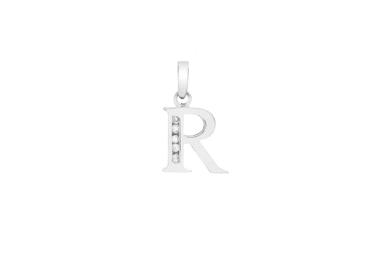 9ct White Gold Initial Pendant R with Cubic Zirconia