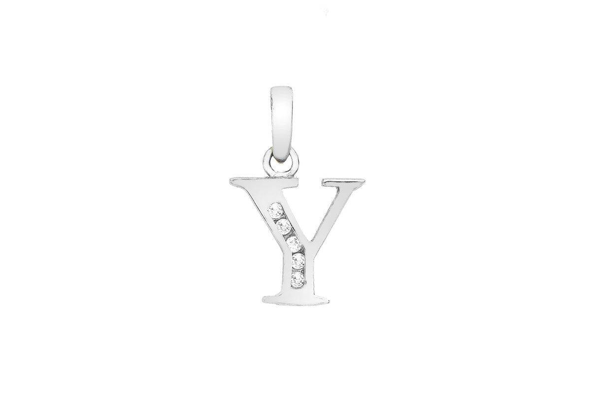 9ct White Gold Initial Pendant Y with Cubic Zirconia