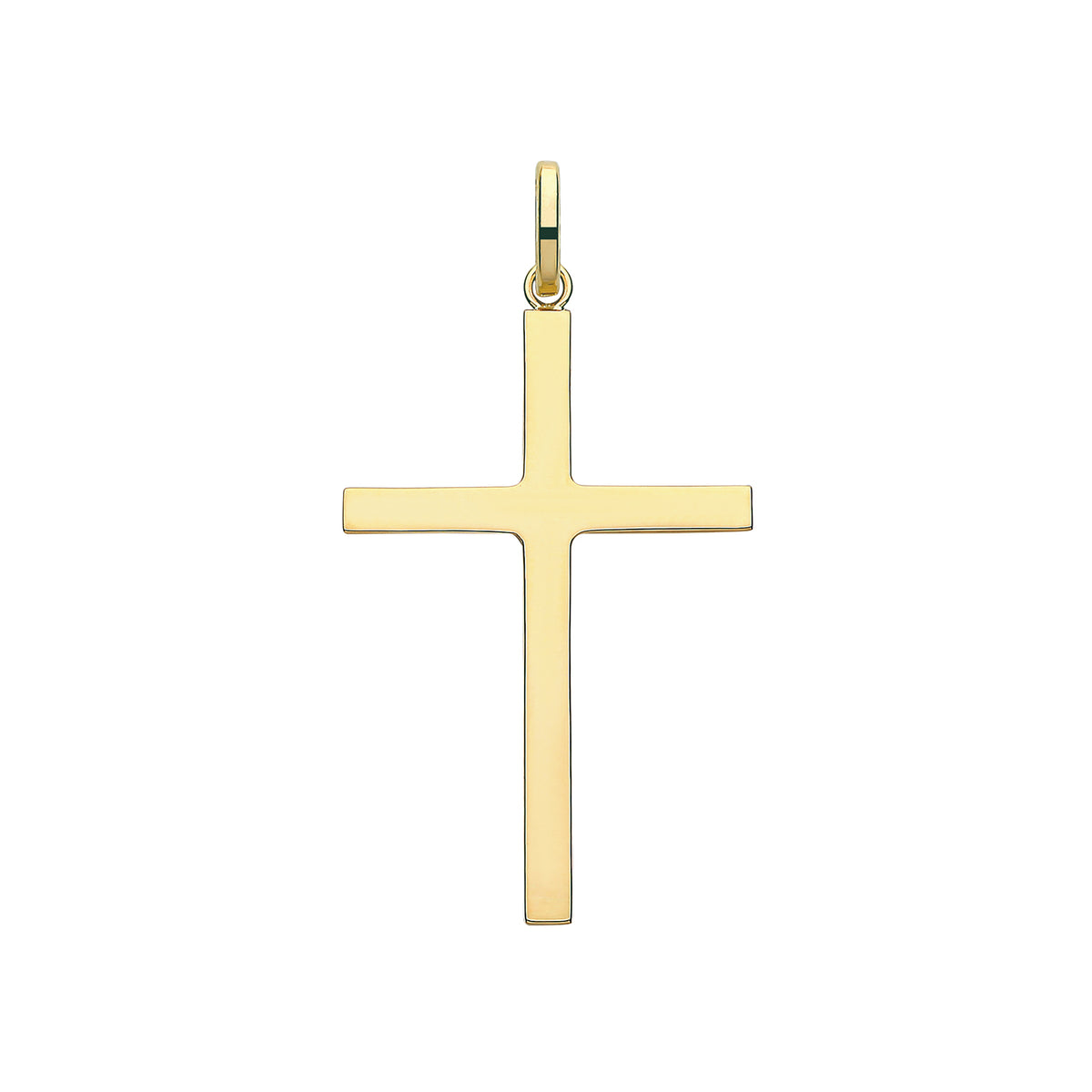 9ct Yellow Gold Semi Solid Cross Pendant