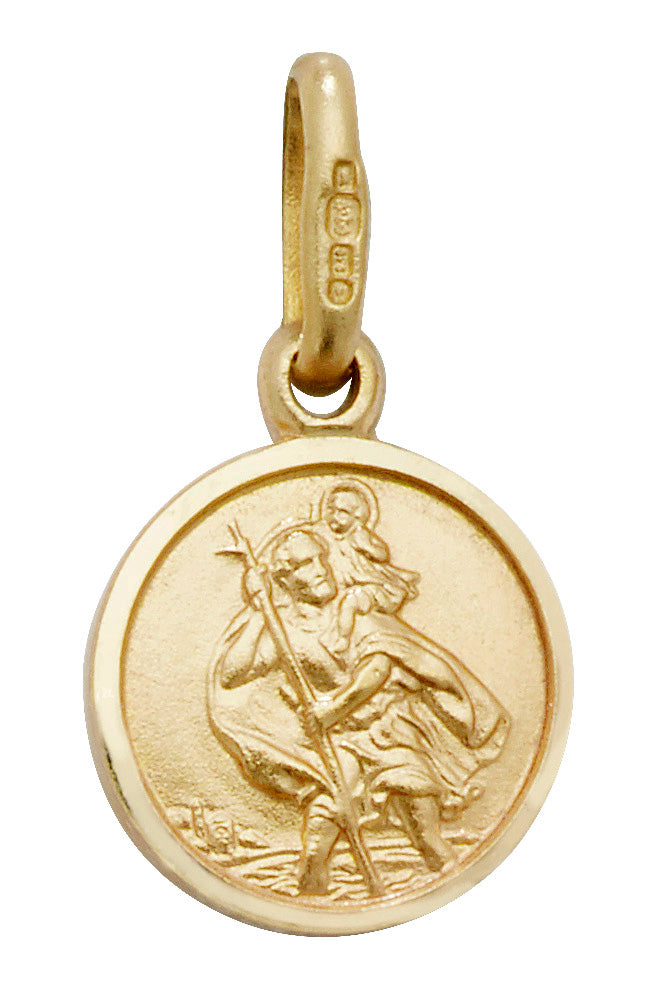 9ct Yellow Gold Round St.Christopher Pendant