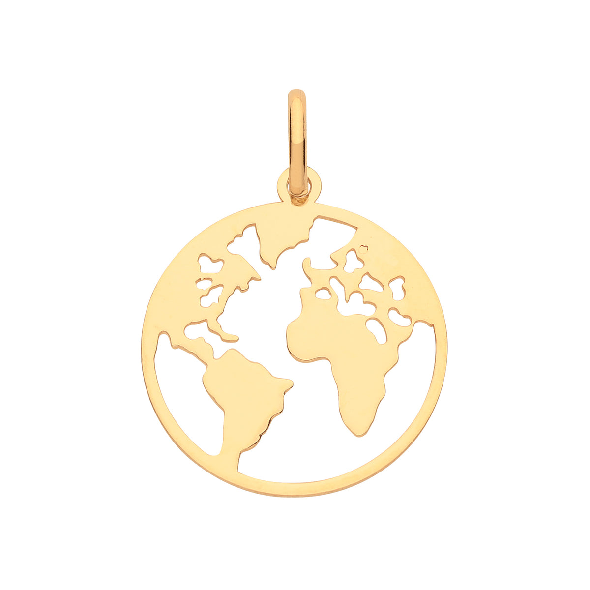 9ct Yellow Gold World Map Pendant