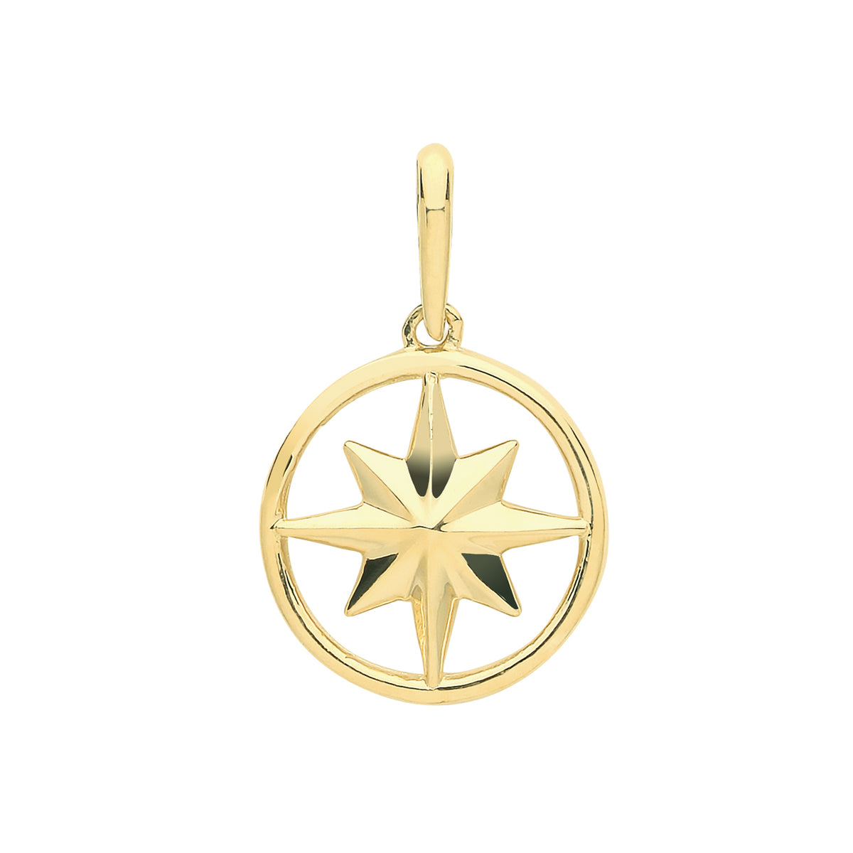9ct Yellow Gold Compass Rose Pendant/Charm