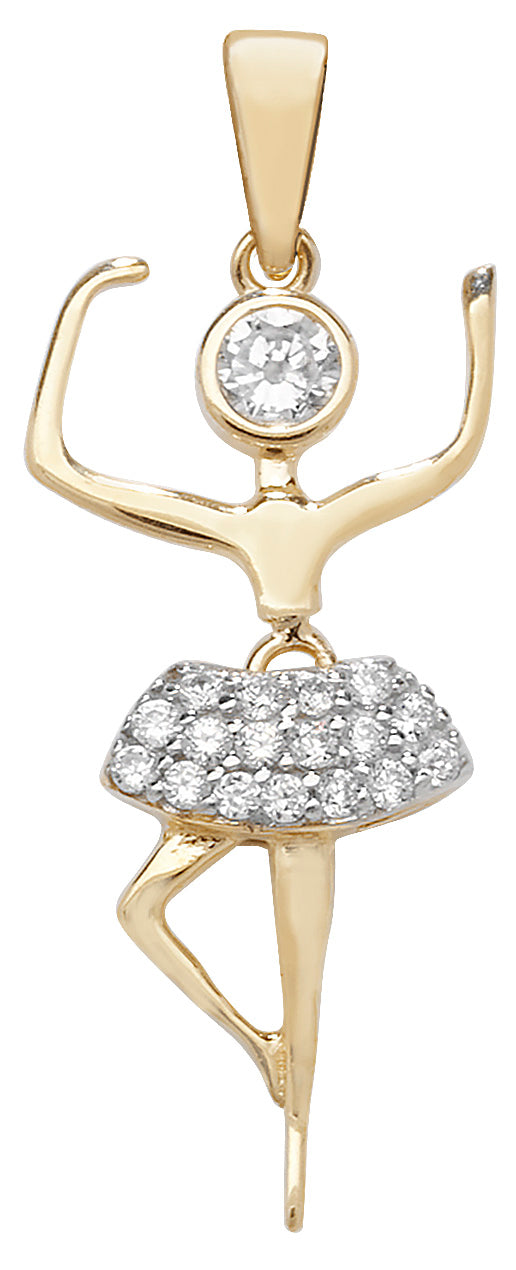 9ct Yellow Gold Cubic Zirconia Set Ballerina Pendant