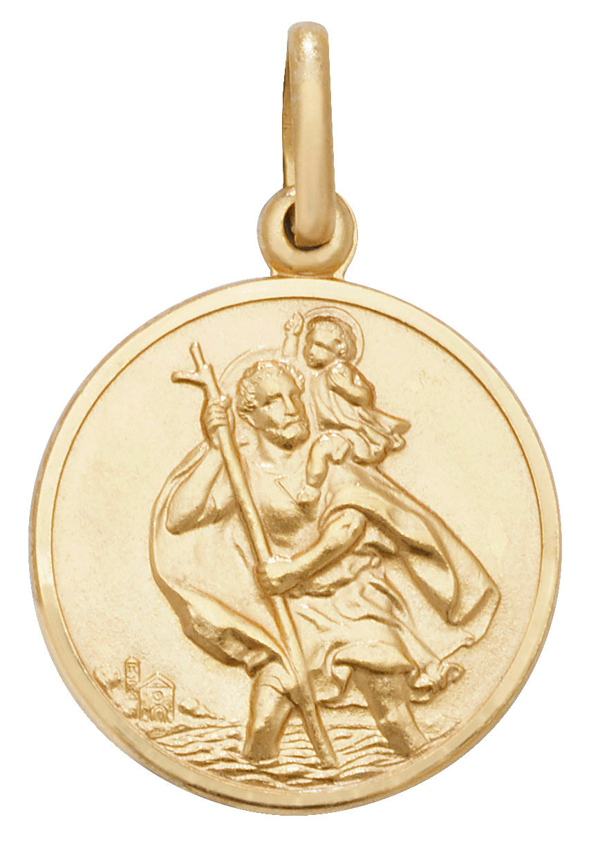 9ct Yellow Gold Round St. Christopher Pendant