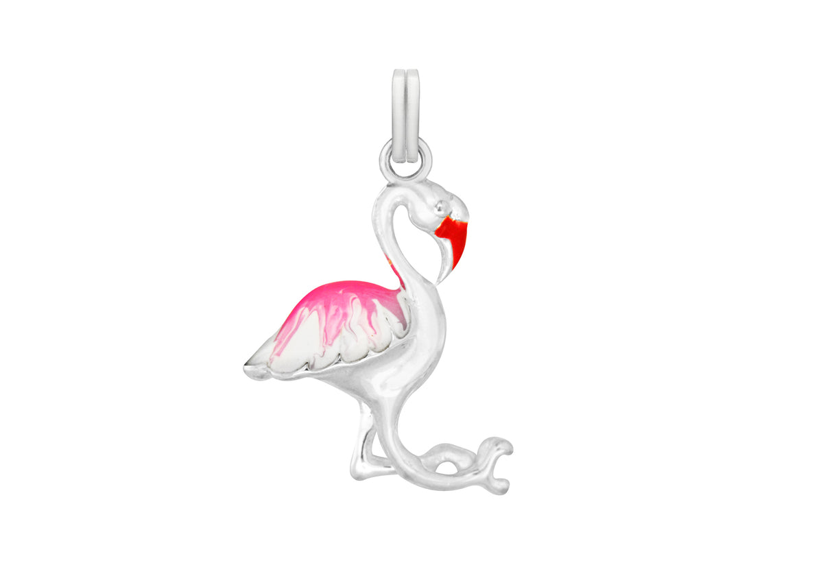 Sterling Silver Pink Flamingo Pendent Charm
