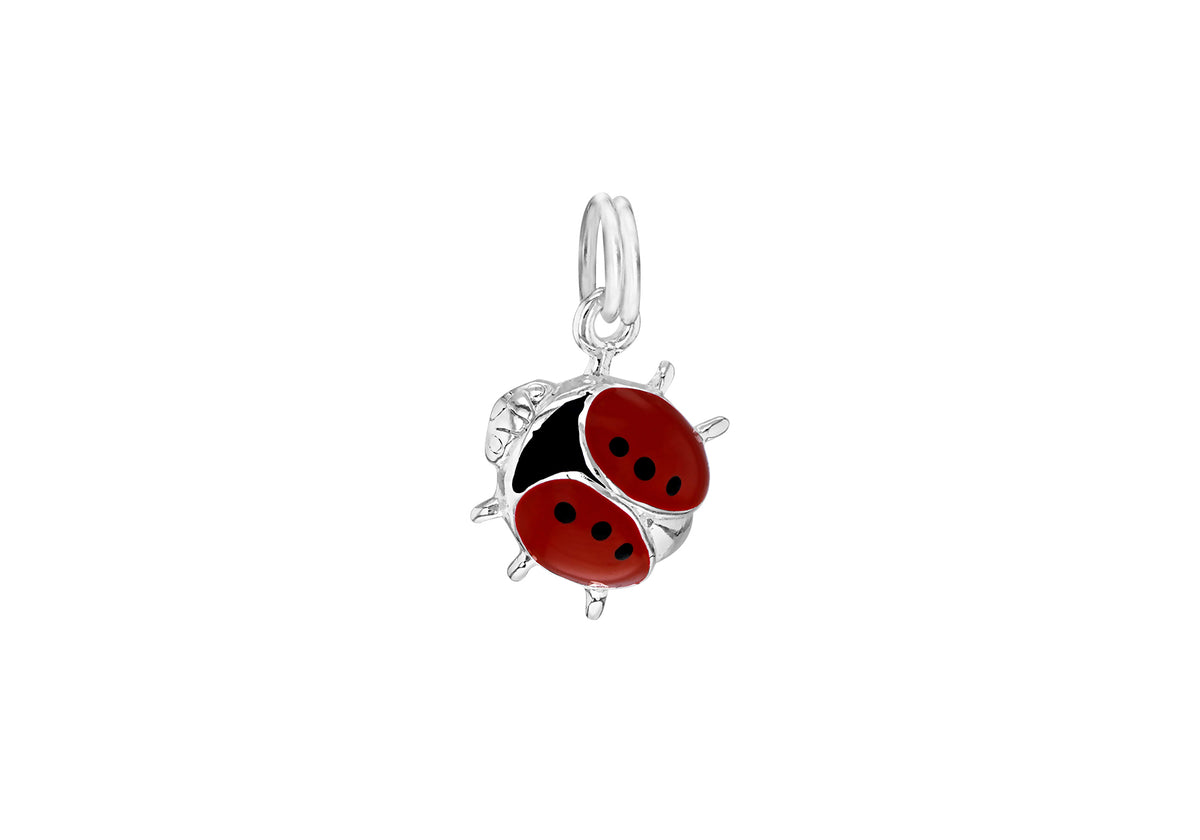 Sterling Silver Red Lady Bug Pendent Charm