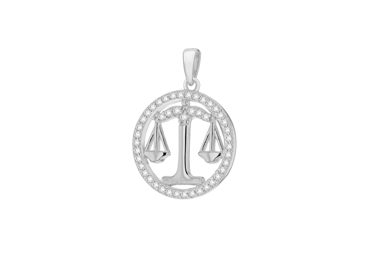 Sterling Silver Libra Cubic Zirconia Pendent