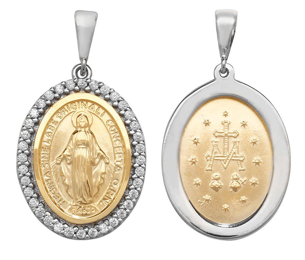 9ct Yellow and White Gold Madonna Pendant