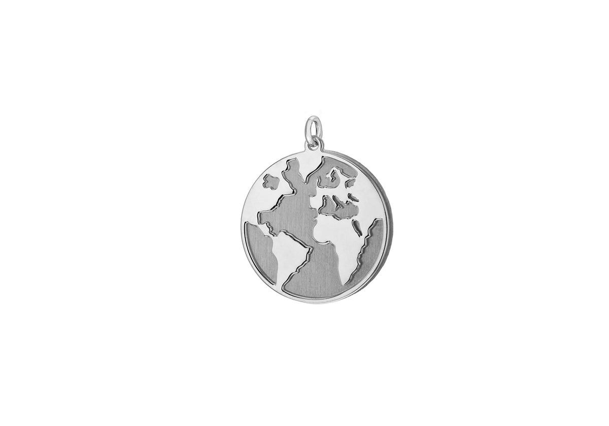 Sterling Silver World Map Pendant