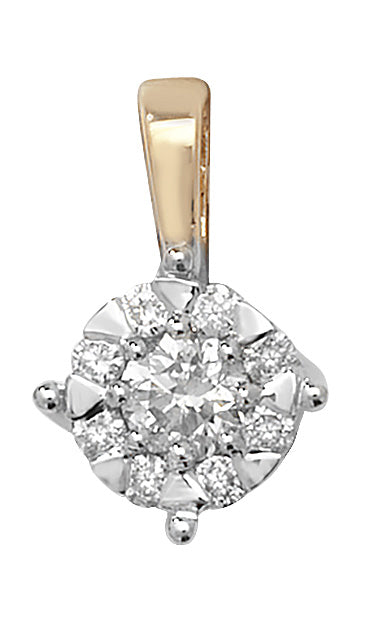 9ct Yellow Gold Diamond Cluster Pendant 0.30ct