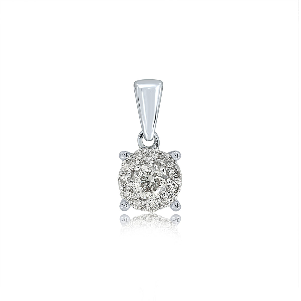 9ct White Gold 0.15ct Diamond Halo Pendant