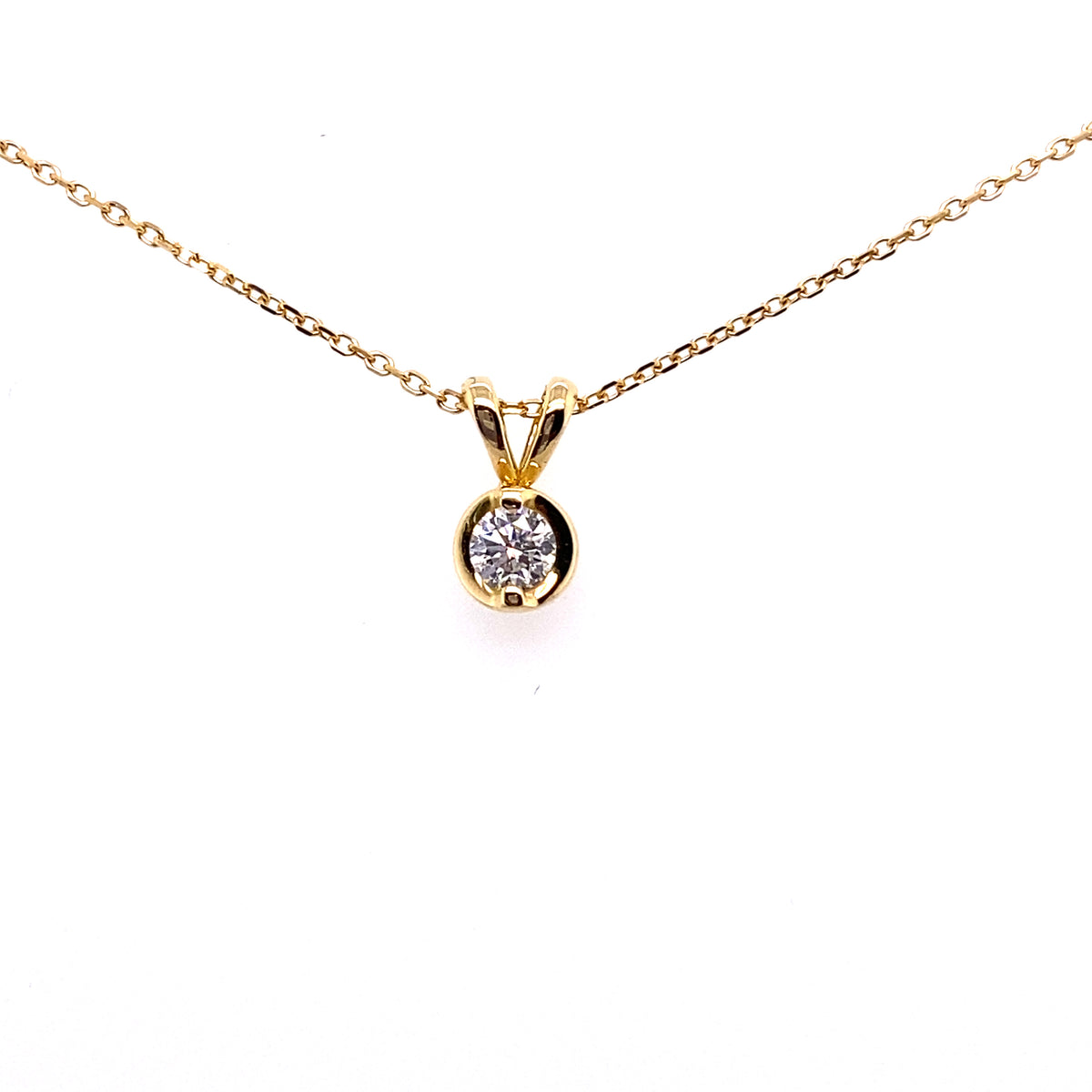 18ct Yellow Gold 0.25ct Diamond Set Pendant