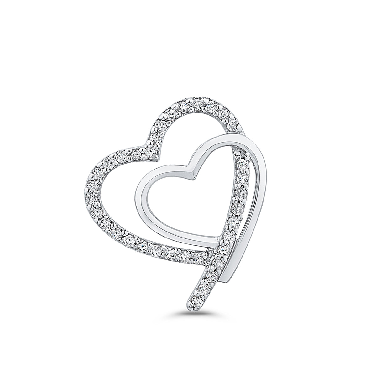 9ct White Gold Diamond Interlocking Heart Pendant