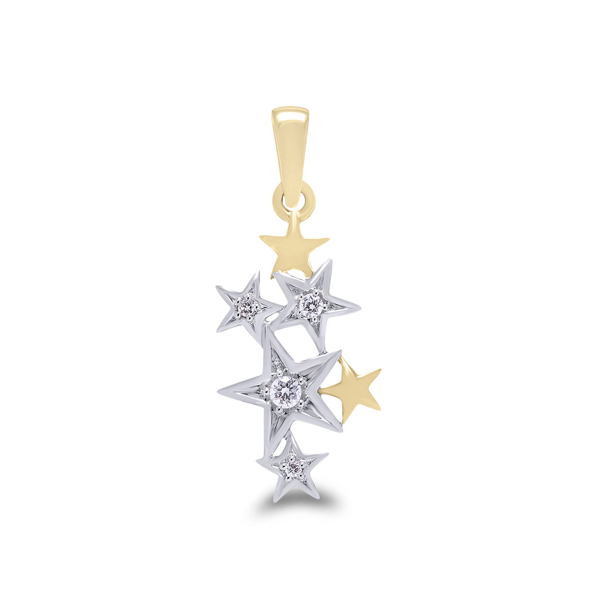 9ct White and Yellow Gold Diamond Star Pendant