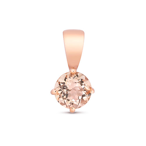 9ct Rose Gold Round Morganite Pendant