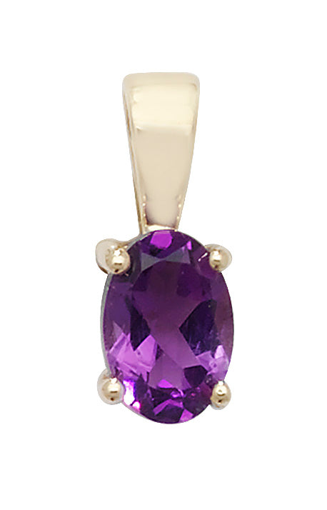 9ct Yellow Gold Oval Amethyst Pendant
