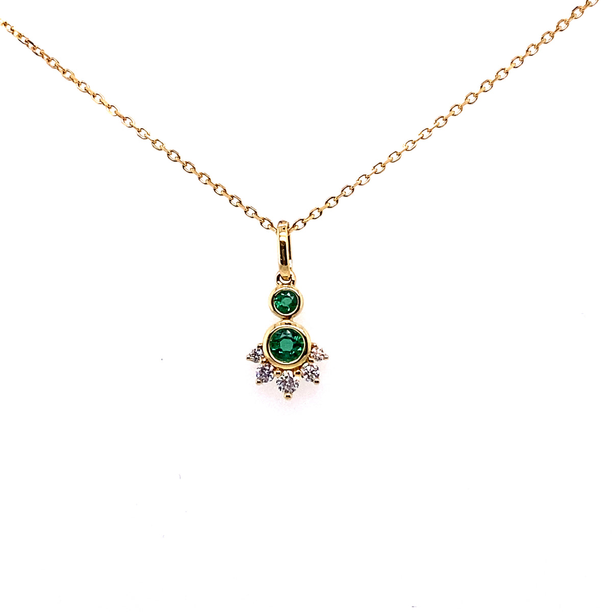 18ct Yellow Gold Diamond and Emerald Pendant