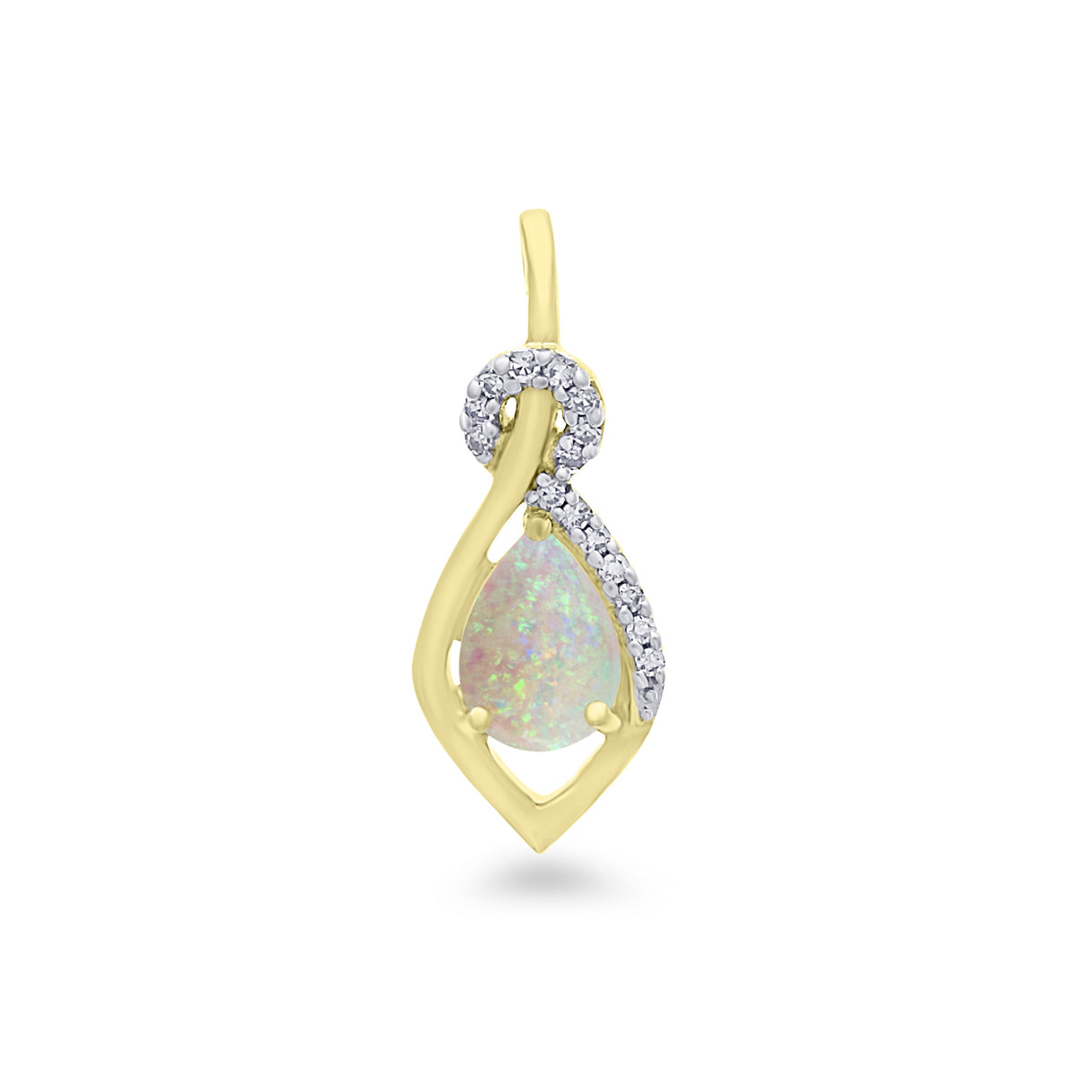 9ct Yellow Gold Opal and Diamond Pendant