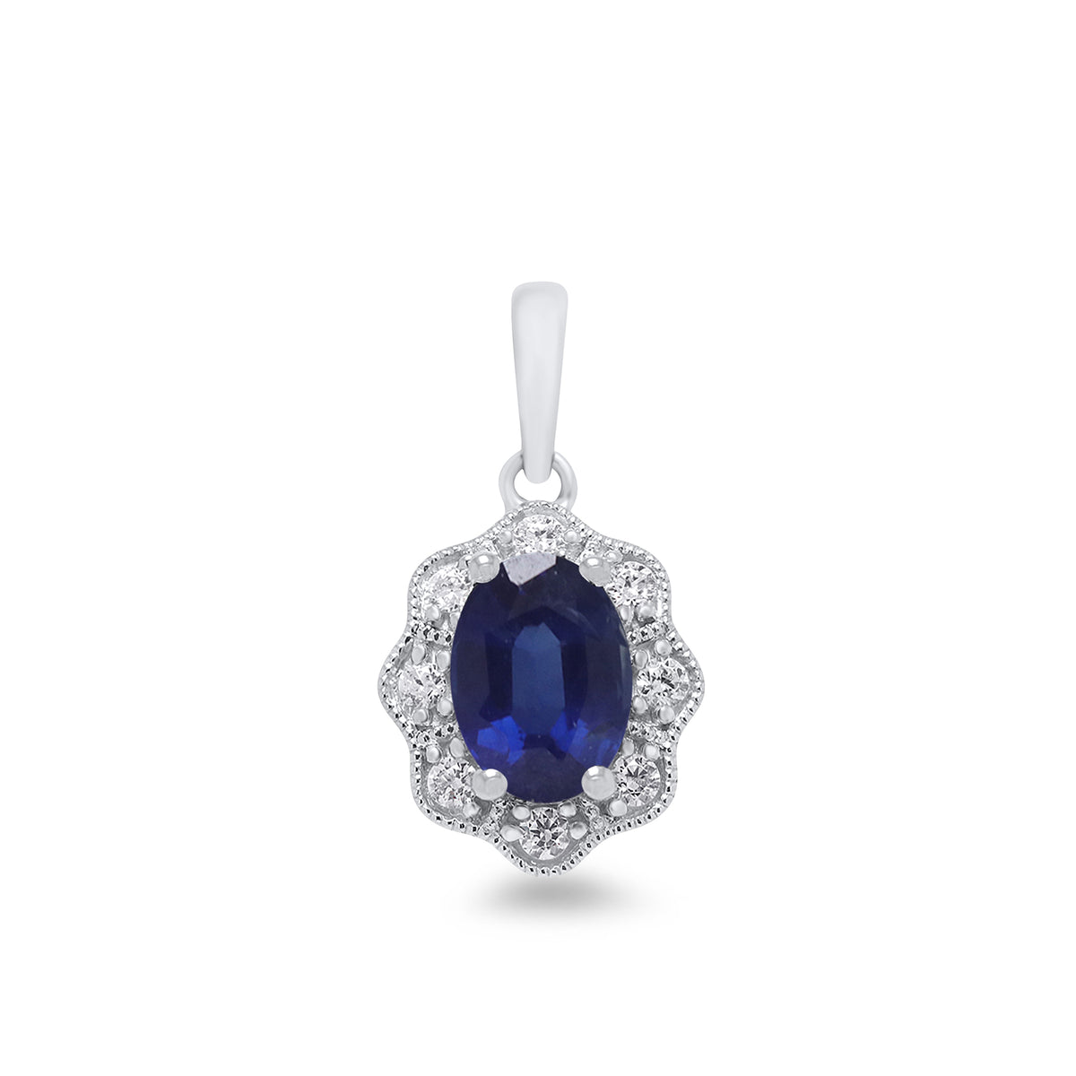 9ct White Gold Sapphire and Diamond Pendant