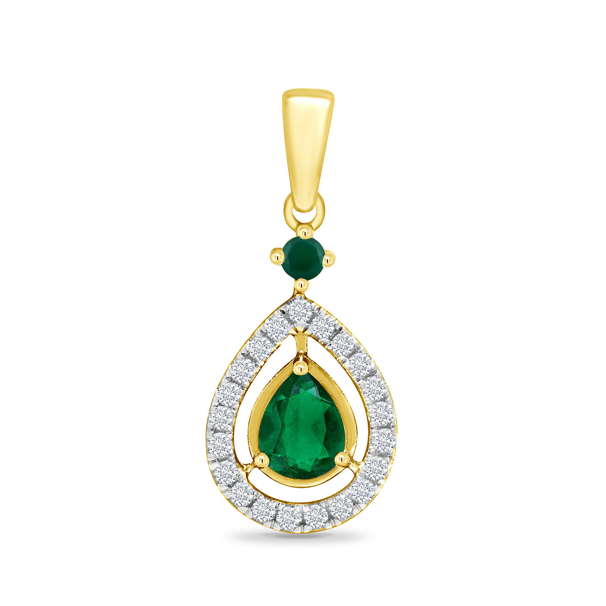 9ct Yellow Gold Emerald and Diamond Pendant