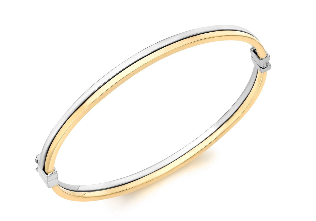 9ct Yellow and White Gold Double Row Bangle