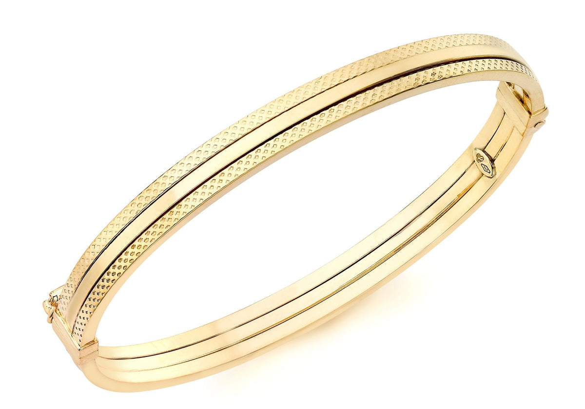 9ct Yellow Gold Square Patterned Bangle