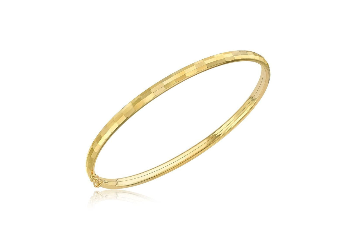 9ct Yellow Gold Chamfered Bangle