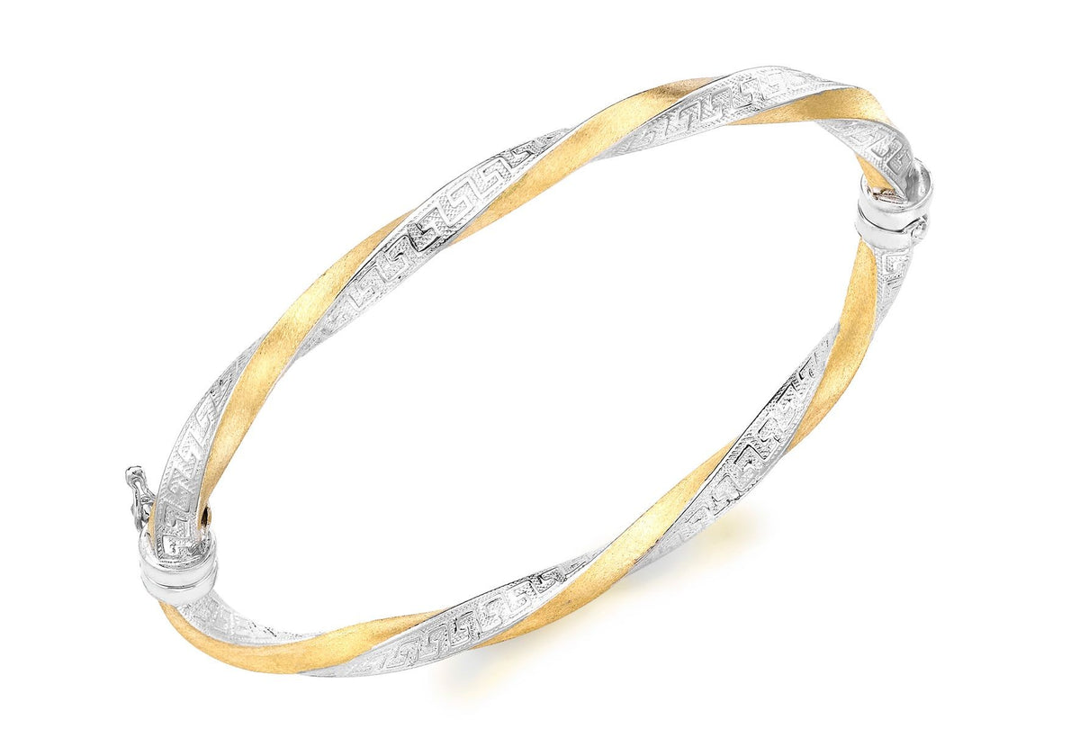 9ct Yellow and White Gold Grecian-Detail Twist Bangle