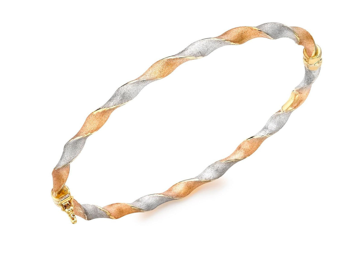 9ct Tri-Coloured Satin Twist Bangle