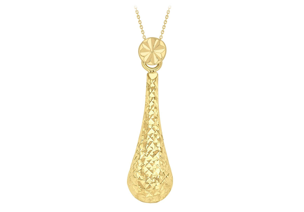 9ct Yellow Gold Sliding Tear Drop Necklace