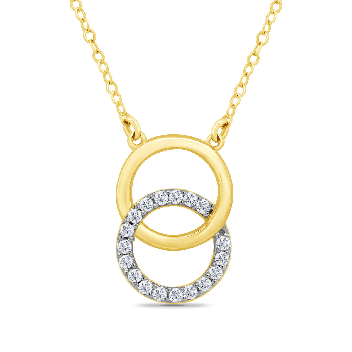 9ct Yellow Gold Diamond Interlocking Circle Necklace