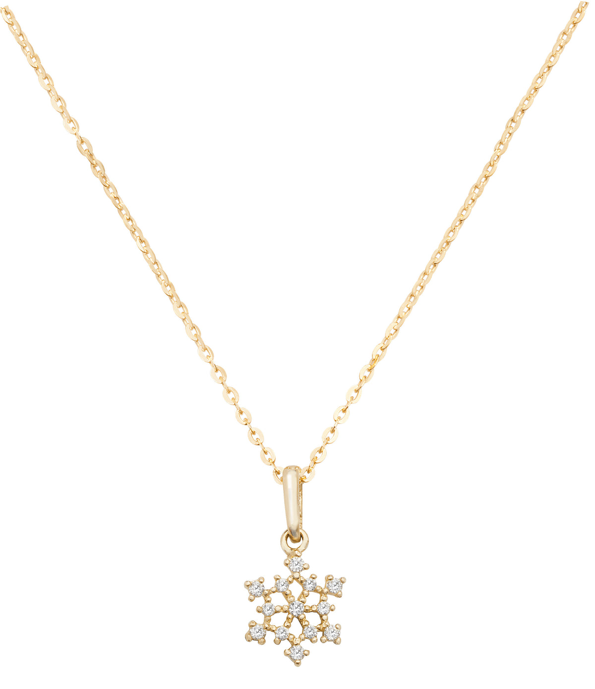 9ct Yellow Gold CZ Snowflake Necklace