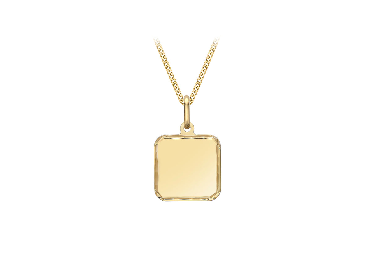9ct Yellow Gold Square Pendant