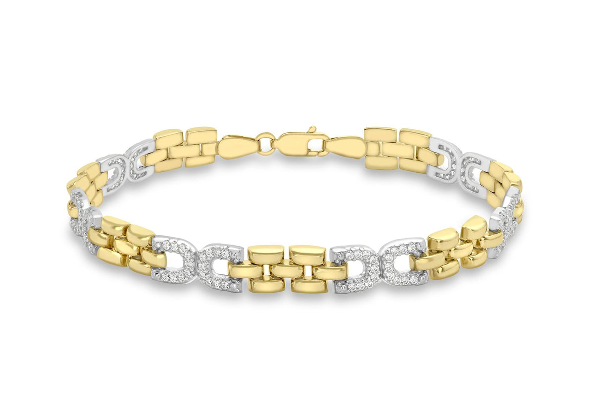 9ct 2 Colour Gold CZ Link Bracelet 7.5""