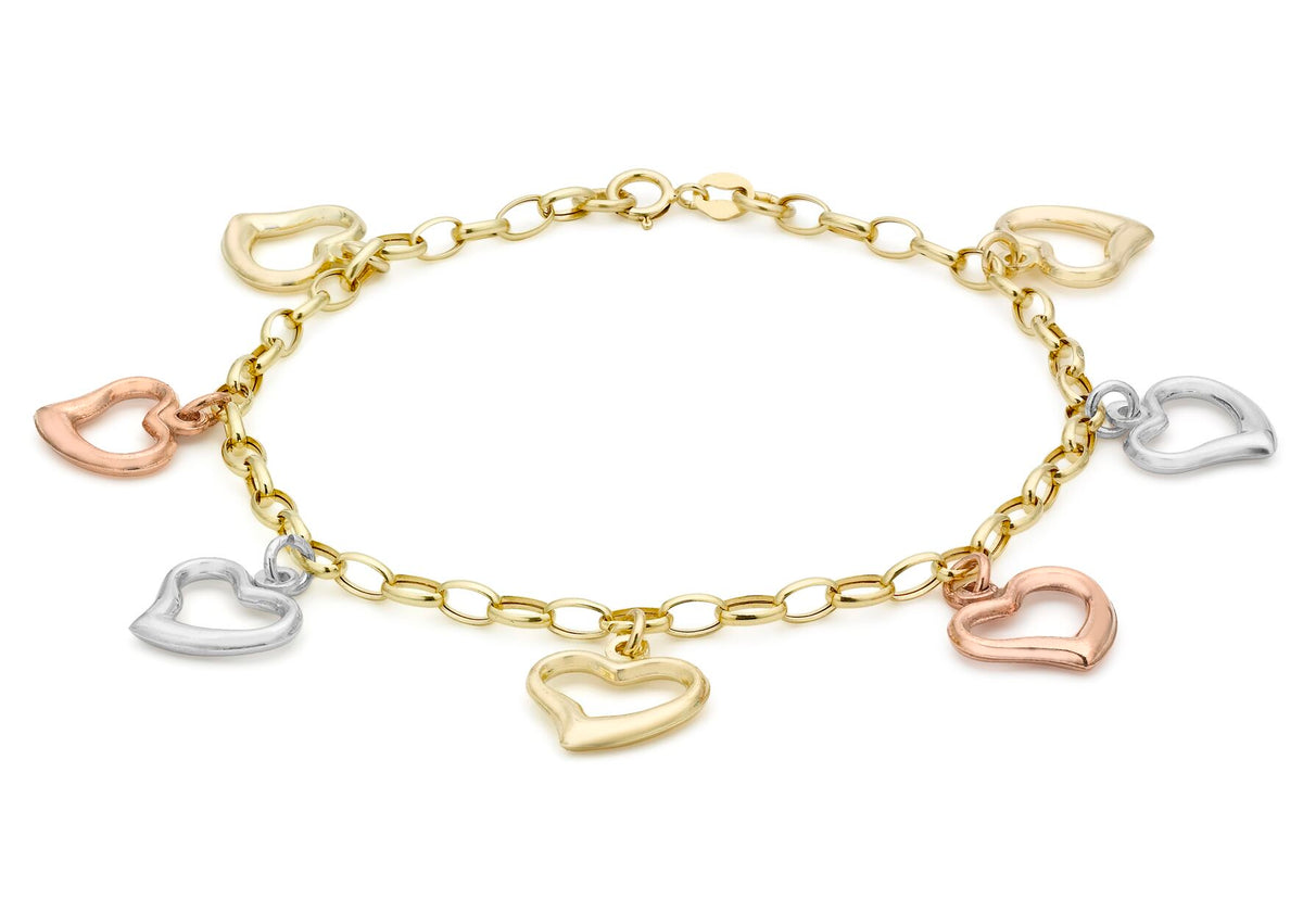 9ct 3 Colour Gold Open Heart Charm Belcher Bracelet 7""