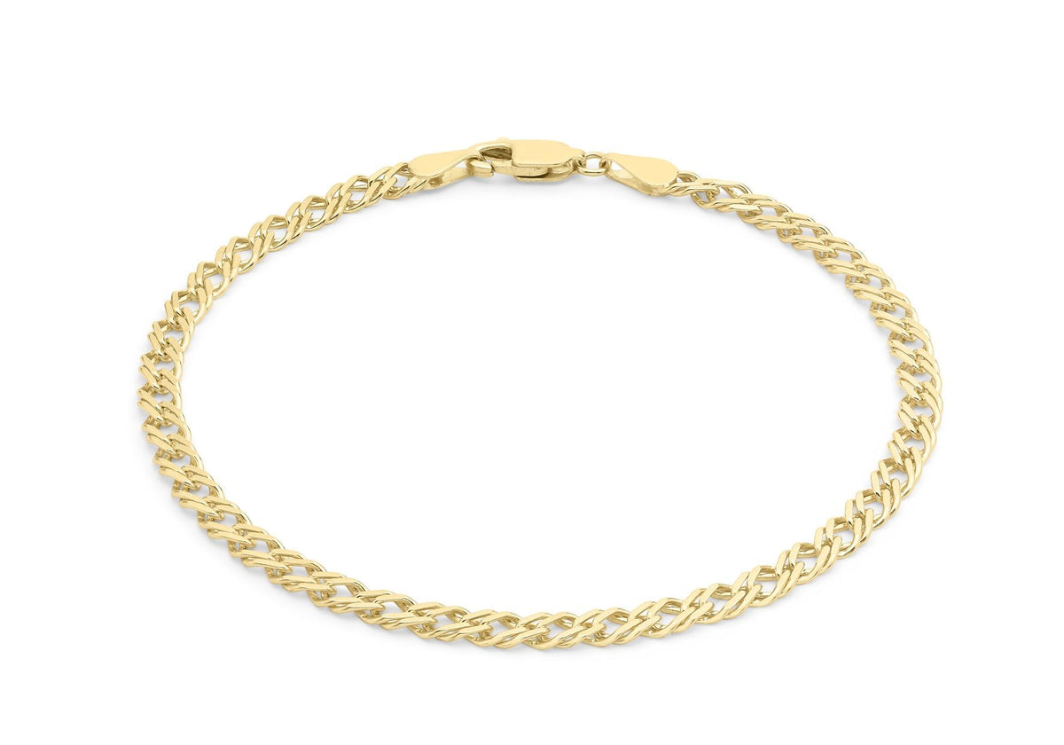 9ct Yellow Gold Double Curb Bracelet