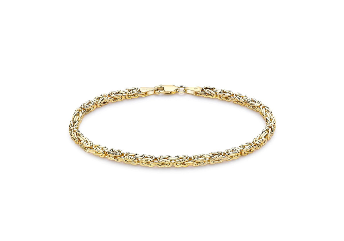 9ct Yellow Gold Square Byzantine Bracelet