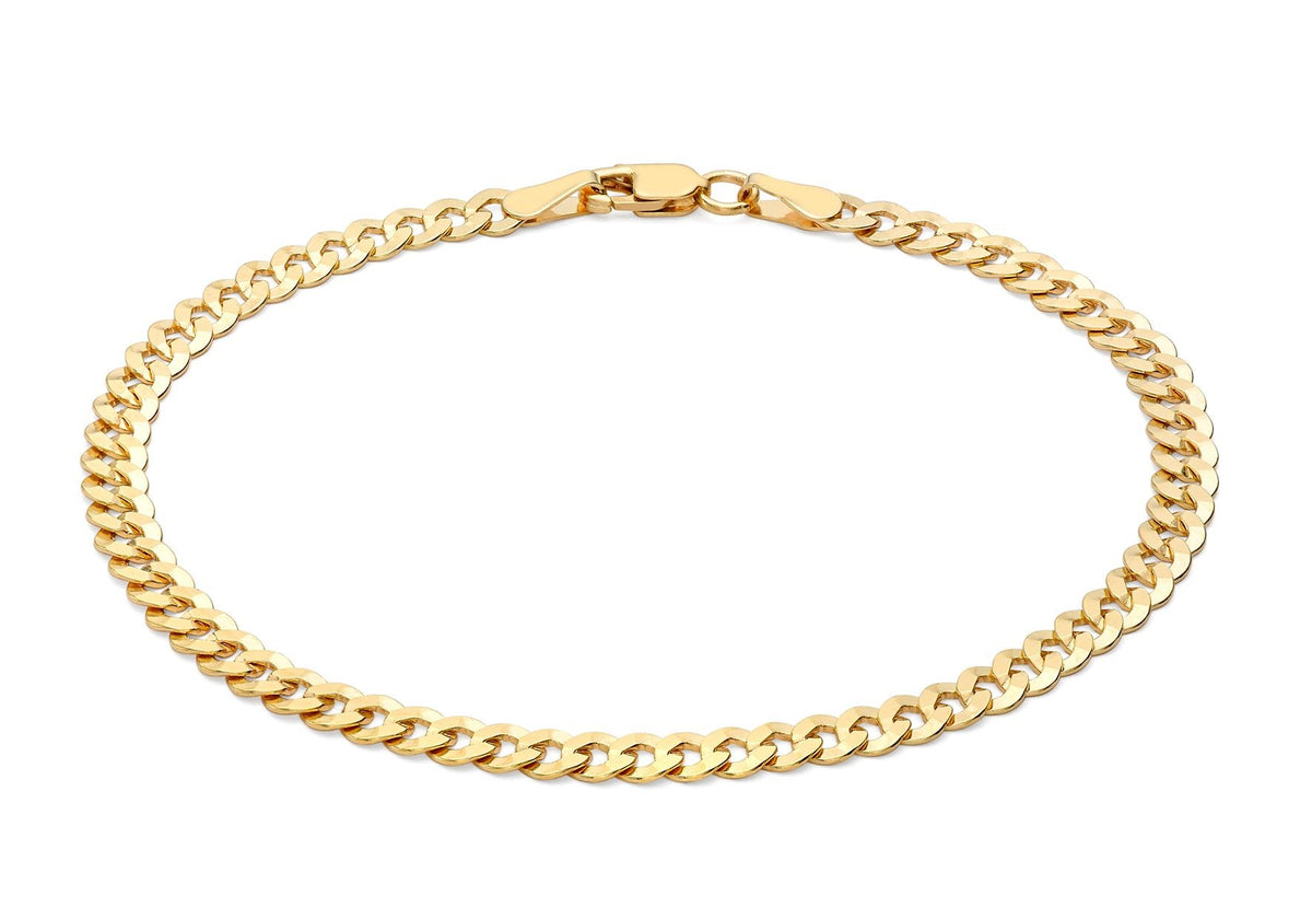 9ct Yellow Gold Flat Double Curb Bracelet